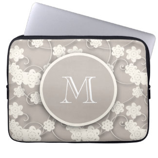 Cute Mod Tan Flowers Pattern, Your Initial Laptop Sleeve