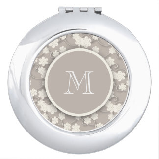 Cute Mod Tan Flowers Pattern, Your Initial Travel Mirror