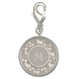 Cute Mod Tan Flowers Pattern, Your Initial Charms