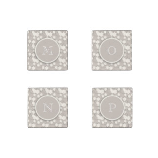 Cute Mod Tan Flowers Pattern, Your Initial Stone Magnet