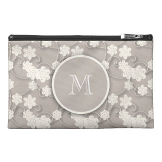 Cute Mod Tan Flowers Pattern, Your Initial Travel Accessory Bag