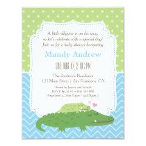 Cute Modern Alligator Baby Shower Party Invitation