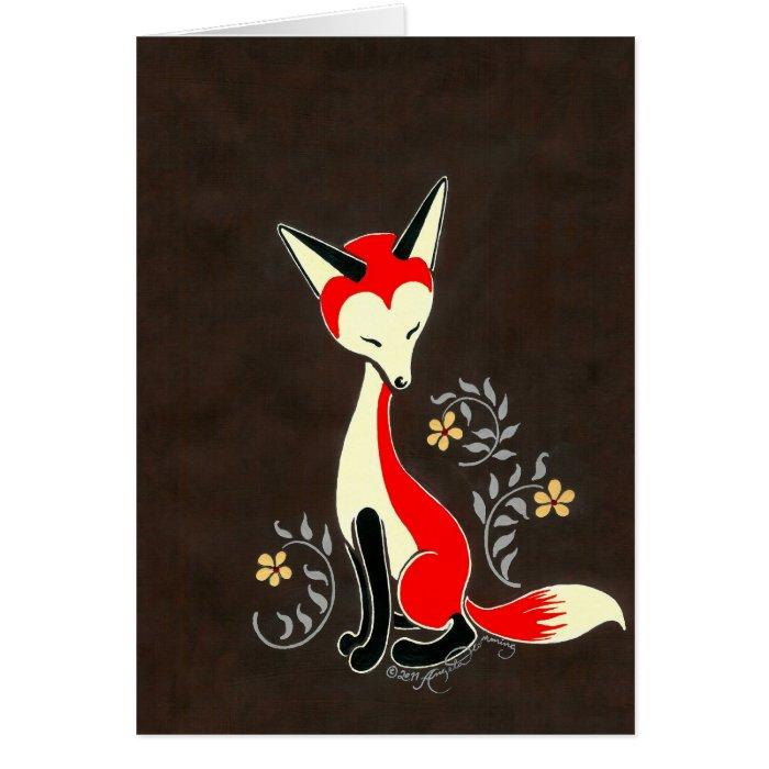 Cute Modern Artsy Fox Painting Card
