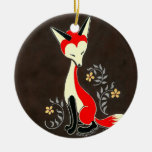 Cute Modern Artsy Fox Painting Double-Sided Ceramic Round Christmas Ornament
