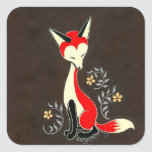 Cute Modern Artsy Fox Painting Square Stickers