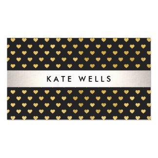 Cute Modern Beauty Black and Gold Heart Pattern Business Card Template