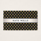 Cute Modern Beauty Black and Gold Heart Pattern Business Card