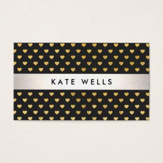 Cute Modern Beauty Black and Gold Heart Pattern Business Card