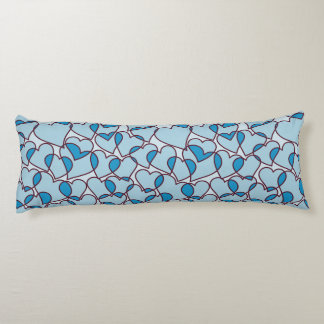 Cute Modern Blue Hearts pattern Body Pillow