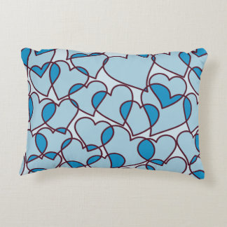 Cute Modern Blue Hearts pattern Decorative Pillow