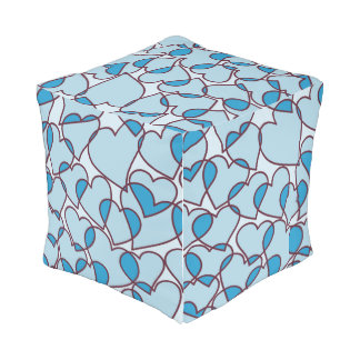 Cute Modern Blue Hearts pattern Outdoor Pouf