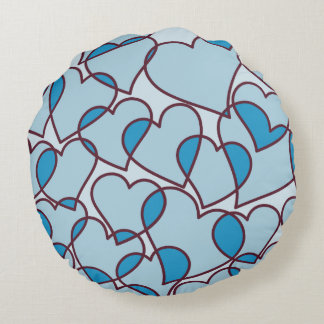 Cute Modern Blue Hearts pattern Round Pillow