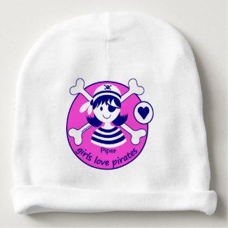 Cute Modern Bright Pink Girl Pirate Design Baby Beanie
