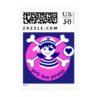 Cute Modern Bright Pink Girl Pirate Design Postage