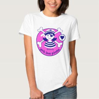 Cute Modern Bright Pink Girl Pirate Design Shirt