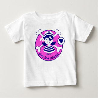 Cute Modern Bright Pink Girl Pirate Design Tee Shirt
