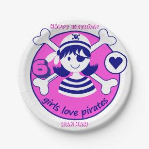 Cute Modern Bright Pink Girl Pirate Paper Plate  sc 1 st  Zazzle & Pirate Girl Plates | Zazzle