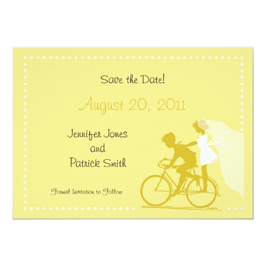 CUTE Modern Couple on Bicycle Save the Date Card