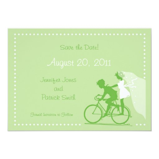 CUTE Modern Couple on Bicycle Save the Date 5x7 Paper Invitation Card