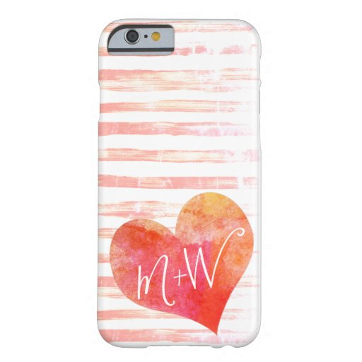 Cute Modern Distressed Hearts His Hers Initials Barely There iPhone 6 Case