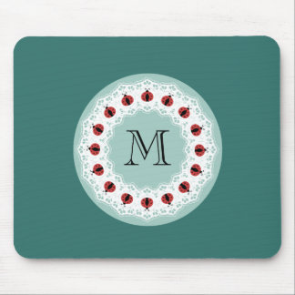 Cute modern doily lace ladybugs monogram mouse pad