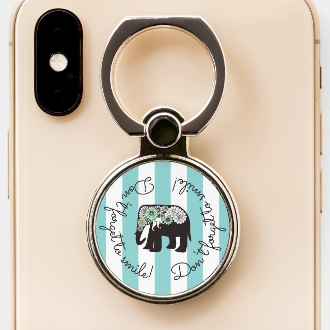 Cute Modern Elephant Inspiration Turquoise Stripes