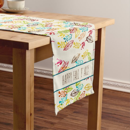 Cute Modern Farmhouse Trendy Colorful Fall Leaves Short Table Runner
