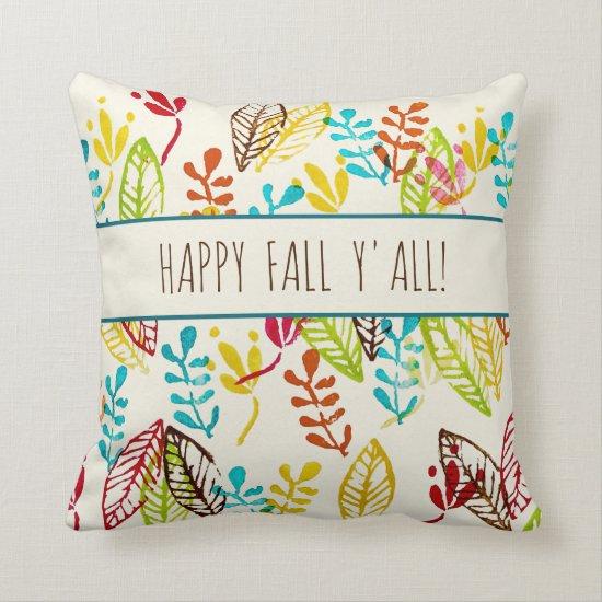 Cute Modern Farmhouse Trendy Colorful Fall Leaves Throw Pillow
