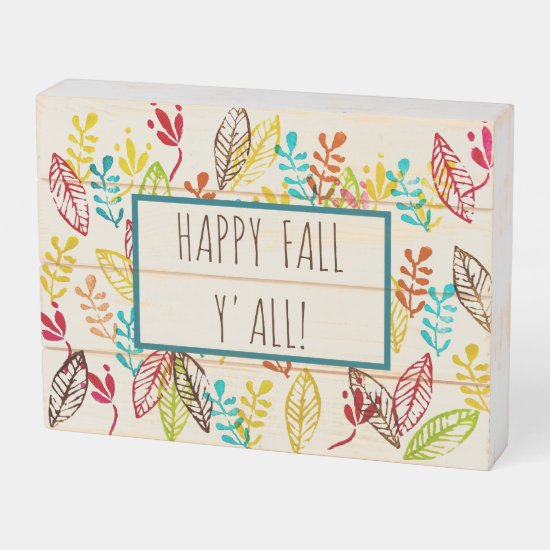 Cute Modern Farmhouse Trendy Colorful Fall Leaves Wooden Box Sign