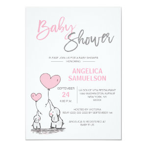 Cute Modern GIRL Pink Mommy Elephant & Baby Shower Card