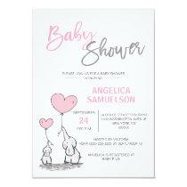 Cute Modern GIRL Pink Mommy Elephant & Baby Shower Invitation