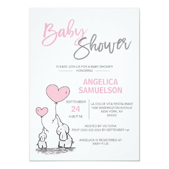 Cute Modern Pink Mommy Elephant Baby Shower Invitation Zazzle