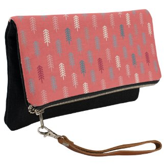 Cute Modern Girly Pink Coral Tree Pattern Clutch