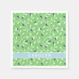 Cute modern green curly leaves pattern monogram napkin