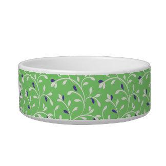 Cute modern green curly leaves pattern monogram cat bowl