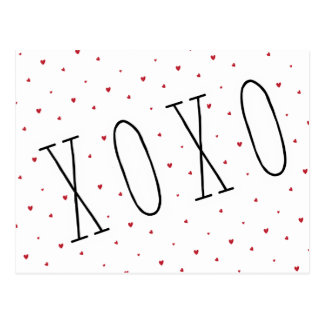 Cute Modern Hearts XOXO Valentine's Day Post Card