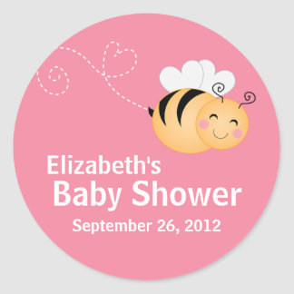 Cute Modern Honey Bee Baby Shower Invitation Classic Round Sticker