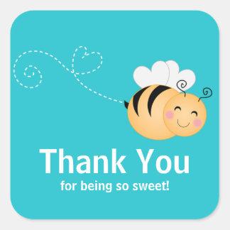 Cute Modern Honey Bee Baby Shower Invitation Square Sticker