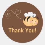 Cute Modern Honey Bee Baby Shower Invitation Round Stickers