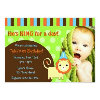 "Cute Modern Lion Birthday Invite 5"" X 7"" Invitation Card"