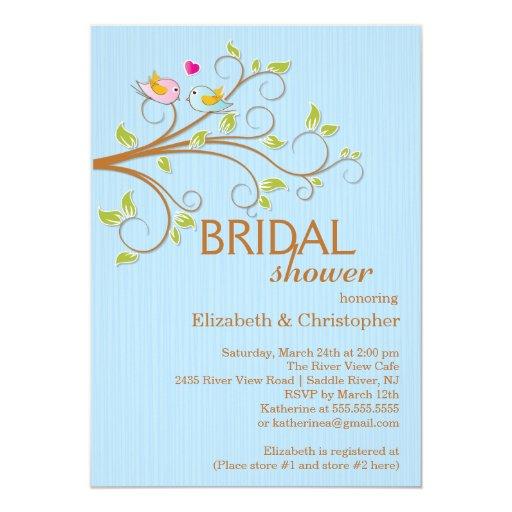 Bridal shower invitations bridal shower invitations birds for Modern bridal shower invitations