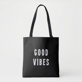 Cute Modern Minimal Black and White Good Vibes Tote Bag