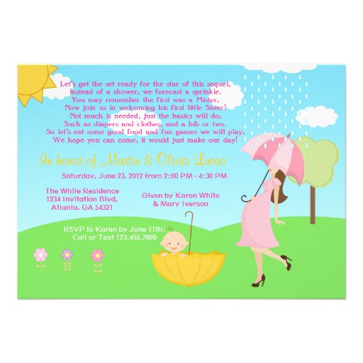 Cute Modern Mom and Baby Boy Baby Sprinkle Custom Invitation