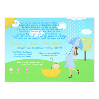 Cute Modern Mom and Baby Boy Baby Sprinkle 5x7 Paper Invitation Card