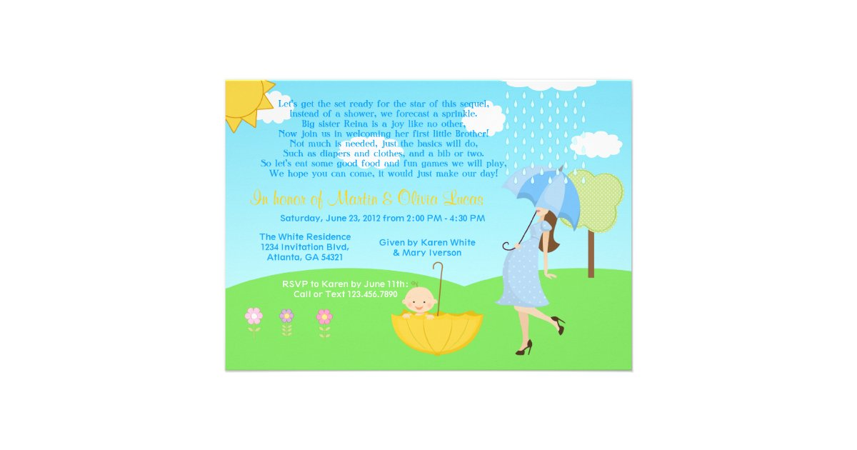 Cute Modern Mom and Baby Boy Baby Sprinkle Personalized Announcement