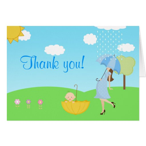 Cute Modern Mom and Baby Boy Thank You Stationery Note Card