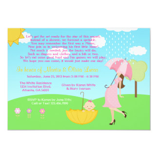 Cute Modern Mom and Baby Girl Baby Sprinkle Card
