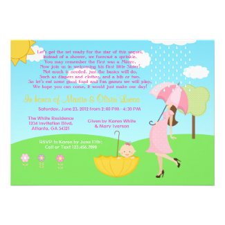 Cute Modern Mom and Baby Girl Baby Sprinkle Custom Invitation