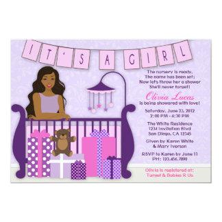 "Cute Modern Mom in Nursery Baby Shower Invite 5"" X 7"" Invitation Card"