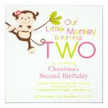 Cute Modern Monkey 2nd Birthday Party Invitations